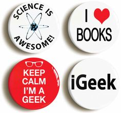 Set of four Science Geek Chic Nerd badges buttons by PinItOnBadges