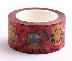Red Owl Masking Washi Tape Sticky Decor Stationery Adhesive Sticker #Other