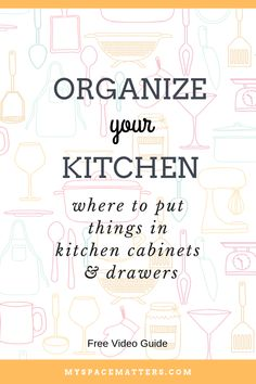 How to organize your kitchen cabinets and drawers. Learn where to put things in kitchen cabinets with this video guide and cheat sheet. Organize your kitchen by mapping all your cabinets and drawers into zones. This video shows you the best place to put t Kitchen Cabinet Drawers, Kitchen Cabinet Organization, Kitchen Storage, Cabinet Ideas, Organize Kitchen Cupboards, Kitchen Organizers, Organized Kitchen, Craft Storage, Storage Ideas