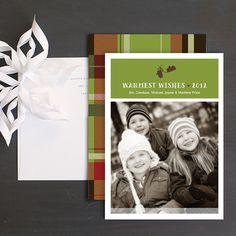 Plaid Mittens Holiday Photo Cards by Ellinée