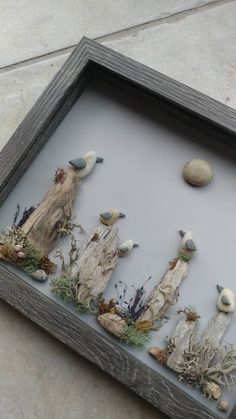 Sea Glass Crafts, Sea Glass Art, Seashell Crafts, Beach Crafts, Stone Pictures Pebble Art, Stone Art, Driftwood Projects, Driftwood Art, Beach Rock Art