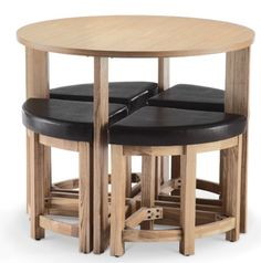 Kansas Stowaway Set  Short on space? Then the Kansas stowaway set superbly solves the problem.  A compact and attractive Oak coloured Ash veneer table with 4 brown faux leather seat padded stools, that neatly store below when not in use.  Dining in confined spaces has never been so easy, practical or affordable!!  Table Dimensions: Diameter: 900mm x H755mm Stool Dimensions: W400mm x D400mm x H480mm