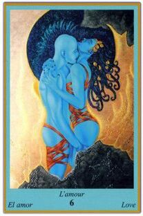 Blue Oracle Deck;  Card of Love; the Love Card announces a period focussed on emotional meetings and harmony.  This card symbolises sensuality and the desire to please; you are releasing a lot of sex appeal. Romantic meetings take place with a strong physical intensity; carnal passion is present with love.