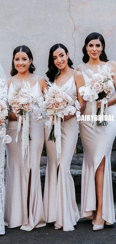 Simple Spaghetti Straps Sexy V-neck Slit Long Bridesmaid Dress, FC5350 #bridesmaiddresses #bridesmaiddress #bridesmaids #dressesformaidofhonor #weddingparty #2021bridesmaiddresses #2021wedding Inexpensive Bridesmaid Dresses, Long Bridesmaid Dresses, Bridesmaids, Wedding Dresses, Elastic Satin, Spring Festival, Spaghetti Straps, V Neck, Silk