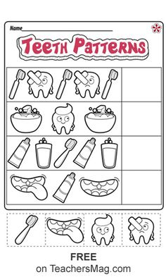 Dentist Worksheets for Kindergarten. 20 Dentist Worksheets for Kindergarten. Dental Health Worksheets for Preschool and Kindergarten Dental Health Month, Oral Health, Gum Health, Kindergarten Worksheets, In Kindergarten, Pattern Worksheet, Health Unit, Free Dental, Health Activities