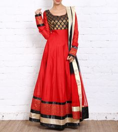 #Red #Banarasi Brocade #Anarkali #Suit #Navratri #Sale #readytoship Was  $348 |  Is $243