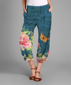 Loving this Blue & Pink Floral Harem Pants - Plus on #zulily! #zulilyfinds