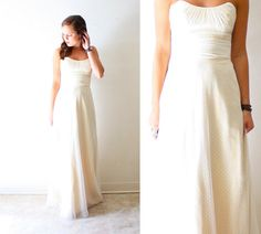 Vintage strapless wedding dress // Jim Hjelm by BeigeVintageCo