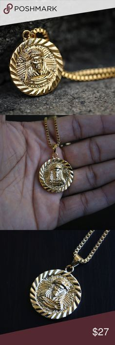 18k Gold Plate Round Shape Jesus Piece Necklace 18k Gold Plate Round Shape Jesus Piece Necklace  Chain is 18k gold plated over 316 stainless steel   Pendant size is 1.5 inches in legnth.  Pendant Comes with a 1.5mm width 18,20,22,24,26 or 30 inch length 18k gold plated stainless steel box chain . Ts Verniel Accessories Jewelry