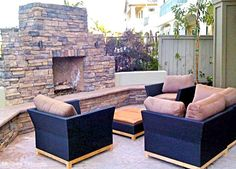 Outdoor fireplace and seating area.