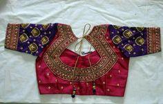 Latest saree blouse back neck designs - Simple Craft Ideas Wedding Saree Blouse Designs, Pattu Saree Blouse Designs, Blouse Back Neck Designs, Designer Blouse Patterns, Fancy Blouse Designs, Wedding Blouses, Latest Saree Blouse, Maggam Work Designs, Blouse Models