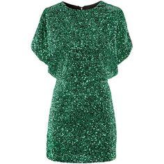 H&M Dress ($49) ❤ liked on Polyvore featuring dresses, vestidos, h&m, green, drape dress, mini dress, sequin dresses, h&m dresses and short sleeve dress