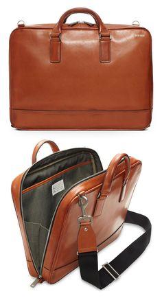 Jack Spade Fulton Brief Mens Leather Laptop Bag, Leather Briefcase, Leather Men, Leather Backpack, Laptop Backpack, Leather Jackets, Pink Leather, Jack Spade, Minimalist Bag