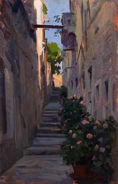 Street in Korcula Paintings from the Deck of a Boat Marc Dalessio