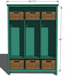 Free plans.  This locker cabinet was featured by Fresh Home magazine, and features three large cubbies and a large bottom and top shelf. The top is also usable for additional storage. You can create a mudroom without having to build built-ins. We have just survived our first Alaska winter with this shelf the primary entryway storage center.