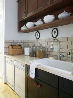 Similar layout, bright colored backsplash instead, like the different colored cabinets.