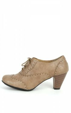 Amany Lace Up Perforated Oxfords TAUPE