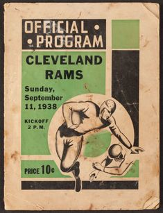 1938 Green Bay Packers vs. Cleveland Rams Program - Three DonHutson Touchdowns!
