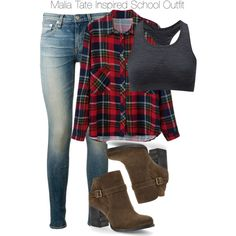 Teen Wolf - Malia Tate Inspired School Outfit with a plaid shirt Teen Wolf Outfits, Teen Wolf Fashion, Teen Fashion Outfits, Tween Fashion, Outfits For Teens, Girl Outfits, Lazy Outfits, Stylish Outfits, Winter Outfits