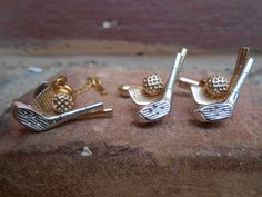 Vintage Golf Cufflinks & Lapel Pin SET. Wedding by TreeTownPaper, $28.00