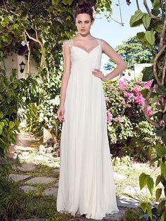 Lanting Bride® Sheath / Column Petite Wedding Dress - Classic & Timeless Floor-length V-neck Chiffon with - USD $99.99