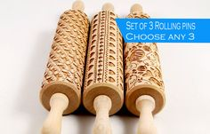 CHOOSE ANY 3 - Embossing rolling pin, laser engraved rolling pin, Set of two Embossed rolling pin