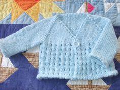 Free Knitting Pattern Baby Cardigan Top Down : clickertyclick: Free pattern - Baby eyelet cardi Free Baby Sweater Knitting Patterns, Knit Baby Sweaters, Toddler Sweater, Knitted Baby Clothes, Knitting For Kids, Baby Patterns, Free Knitting, Baby Knits, Cardigan Bebe