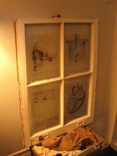 vintage medical window frame pane