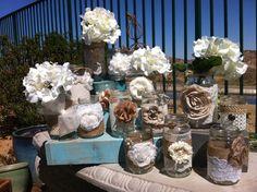 BURLAP LACE MASON Jars. Bulk Mason Jars. Rustic Wedding Décor. Rustic Chic Wedding Centerpieces. Wholesale Wedding Décor. Barn Wedding