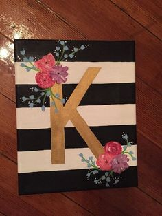 Floral Letter Canvas by CharmingCanvases on Etsy easy paintings DIY Abstract Heart Painting and a Fun Paint Party Simple Canvas Paintings, Easy Canvas Art, Easy Canvas Painting, Cute Paintings, Heart Painting, Canvas Crafts, Painting Flowers, Canvas Painting Designs, Beginner Canvas Painting Ideas