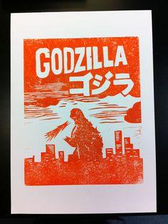 Godzilla Red - Linocut blockprint on A3 fine art paper.. $20.00, via Etsy.
