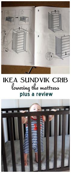 Abe's crib is the Sundvik crib from Ikea. As I've mentioned before, this selection was motivated primarily by price. The crib is $119, and I like the way it looks just fine. It has clean simple lin...