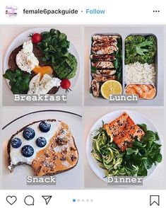 Healthy meal plans - 🇺🇸 New Day of Eats ❄️ As I've got many requests after the first one early this week, I thought I'd make a new one 🙂 Here's an example of a typical work day in my plate, when I h Healthy Meal Prep, Healthy Snacks, Healthy Eating, Healthy Recipes, Meal Recipes, Dinner Recipes, Healthy Drinks, Healthy Food Plate, Meal Prep