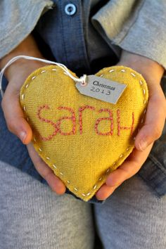Personalized Ornament - Wool Felt Heart with Hand Embroidered name