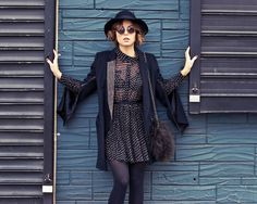rag + bone hat, ray ban sunnies, primary coat, moon collective dress (from beehive in austin), pour la victoire bag, hue tights, l.a.m.b. shoes