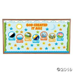 Help teach the Creation story to Sunday School students and other young believers with help from this bulletin board set. It includes pictures of each of the . Creation Bulletin Boards, Bible Bulletin Boards, Christian Bulletin Boards, Summer Bulletin Boards, Christian Classroom, 7 Days Of Creation, Creation Bible, Sunday School Rooms, Sunday School Classroom
