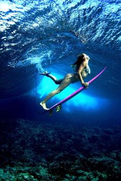The Dope Surf Society® | surfer duck diving under wave, under water, surfer girl