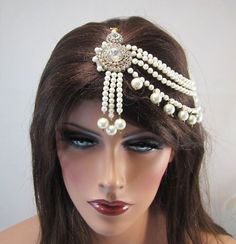 Indian-Bollywood-Head-Piece-Kundan-Faux-Pearl-Gold-White-Stone-Matha-Patti