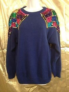 viNtagE sweater blue with multi color sequins glamazon! By Barbara Scott Size Lg