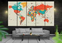 Large Modern Retro World Map / World Map Prints on Canvas Wall Art / Retro Political Map of the World / Classic Map for Home and Office Wall Decor.  Item No.: 109 --------------------------------------------------------- A B O U T · U S · We achieve professional canvas prints by applying the latest printing technology in the industry together with Epson 8c fade-resistant archival pigment ink which produces long-lasting prints over time. Our premium quality canvases guarantee co...