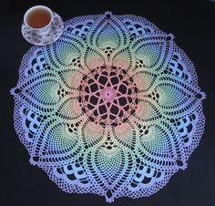 """""""Tropical Beauty"""" handmade crocheted, hand-dyed, painted doily by Raine  (raine59 on ebay - she also sells her beautiful hand dyed crochet threads!  I have used them, they are fantastic.)"""