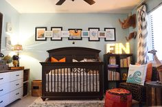 Travel Inspired Nursery. I saw a map of the United States made out of license plates that I'll be using one day. Fits in with this theme nicely.