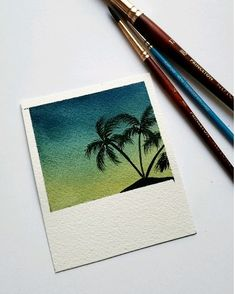 Easy watercolor Polaroid - Galaxy Painting - Step By Step Acrylic Painting Tutorial Watercolor Sunset, Abstract Watercolor, Watercolor Illustration, Simple Watercolor, Watercolor Ideas, Tattoo Watercolor, Watercolor Animals, Watercolor Background, Watercolor Landscape