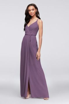 This long georgette bridesmaid dress features true wrap styling, with ties beneath a draped surplice bodice to keep everything in place. A classy side slit offers the perfect opportunity to flaunt some fun shoes.  Polyester  Tie closure; fully lined  Hand wash  Imported  Also available in extra length