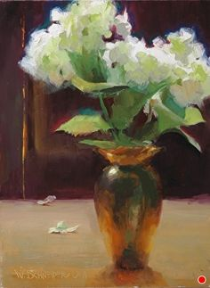 Backlit Hydrangea by William Schneider, Oil, 12 x 9 Flower Vases, Flower Art, Flowers, Rim Light, Painting Still Life, Watercolor Paintings, Oil Paintings, Fine Art, Landscape
