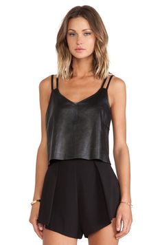 $162 LaMarque Axel Cropped Leather Cami in Black