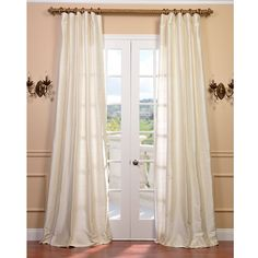 Exclusive Fabrics Signature Pearl White Textured Silk Curtain (50W x 96L), Size 50 x 96