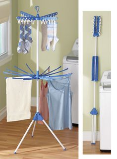 "Portable Folding Drying Laundry Garment Rack  Enjoy the convenience of a portable, folding drying center for your hand-washables and other non-dryer laundry items. Use it inside or out, it folds up and stores compactly. Includes 24 plastic clothespins. 31 1/2""Dia. x 68""H. 14.99 collectionsetc.com"
