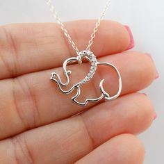 Elephant Necklace – 925 Sterling Silver – Cz Elephants Trunk Up Pendant Jewelry - Silver Jewelry Silver Pendant Necklace, Sterling Silver Necklaces, Pendant Jewelry, Silver Earrings, Jewelry Necklaces, Silver Ring, Silver Jewellery, Craft Jewelry, Gemstone Jewelry