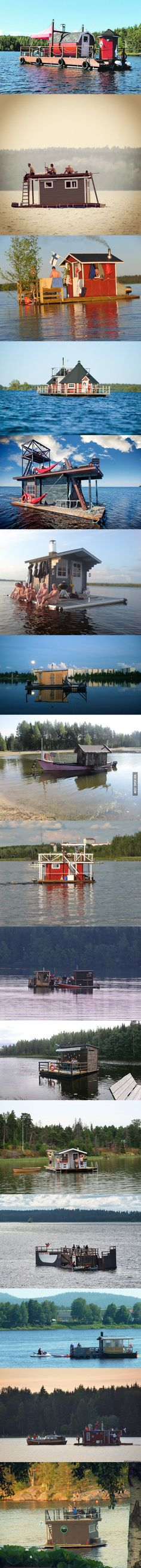 Floating saunas of Finland Saunas, Little Dream Home, Family Boats, Boating Tips, Infrared Sauna, Boat Stuff, Best Funny Pictures, Finland, Camping